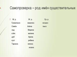 Самопроверка – род имён существительных М. р. Ж. р. Ср. р. Гришенька вишенка