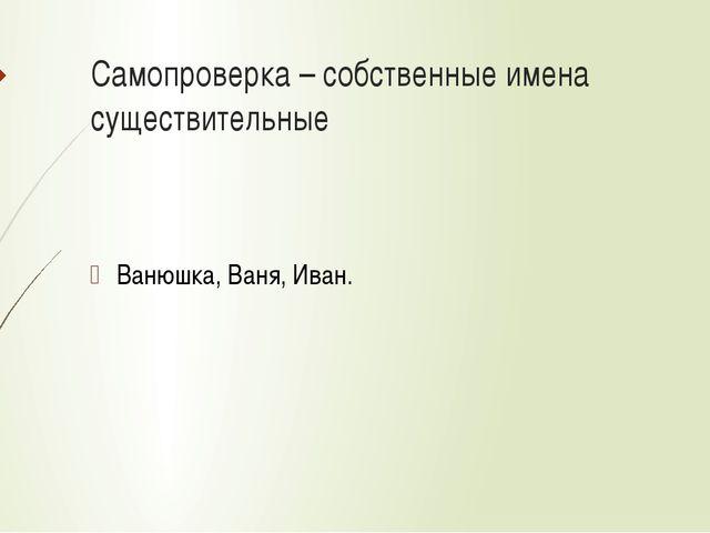 Самопроверка – собственные имена существительные Ванюшка, Ваня, Иван.