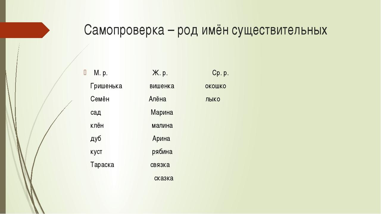 Самопроверка – род имён существительных М. р. Ж. р. Ср. р. Гришенька вишенка...