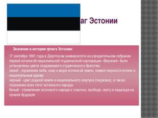 Флаг Эстонии Значение и история флага Эстонии: 17 сентября 1881 года в Дерпт