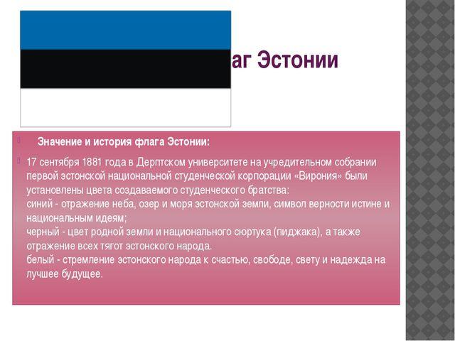 Флаг Эстонии Значение и история флага Эстонии: 17 сентября 1881 года в Дерпт...