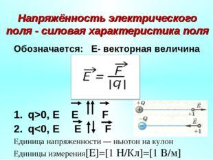 Напряжённость электрического поля - силовая характеристика поля Обозначается: