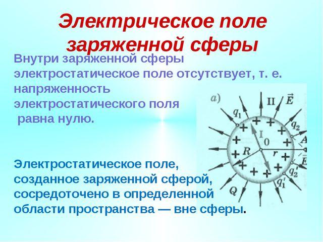 Электрическое поле заряженной сферы Внутри заряженной сферы электростатическо...
