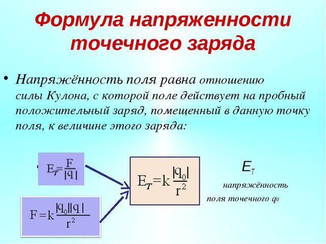 Формула напряженности точечного заряда Напряжённость поля равна отношению сил...