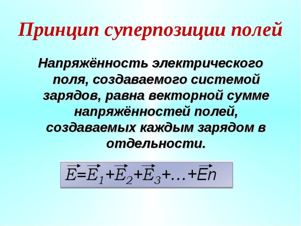 Принцип суперпозиции полей Напряжённость электрического поля, создаваемого си...