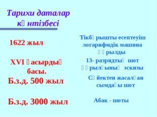 Б.з.д. 3000 жыл Абак - шоты Б.з.д. 500 жыл Сүйектен жасалған сымдағы шот XVI