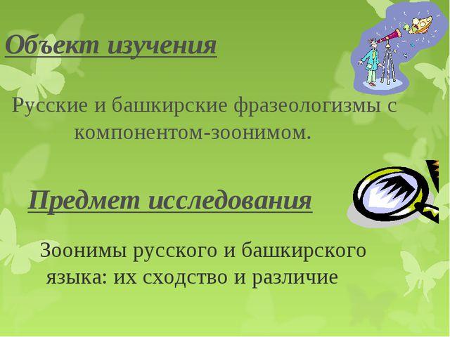 Зоонимы русского и башкирского языка: их сходство и различие Объект изучения...