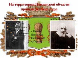 На территории Пензенской области прошли детские годы Андрей Николаевич Бекето
