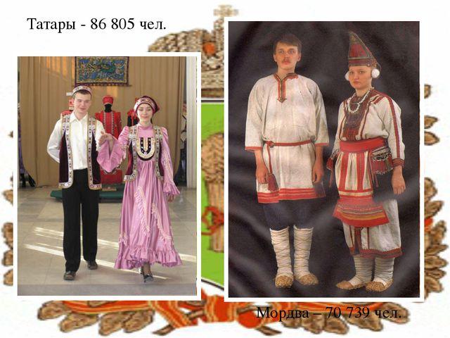Татары - 86805 чел. Мордва – 70 739 чел.