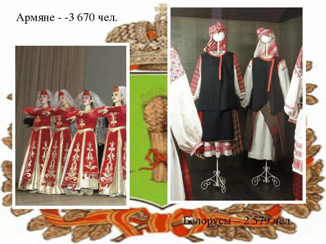 Армяне - -3 670 чел. Белорусы – 2 579 чел.