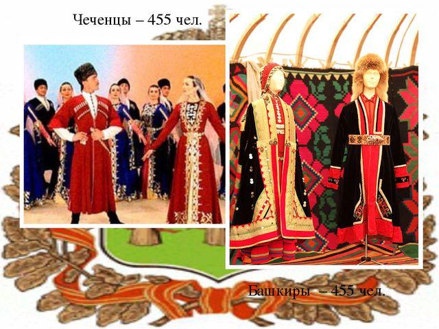 Чеченцы – 455 чел. Башкиры – 455 чел.