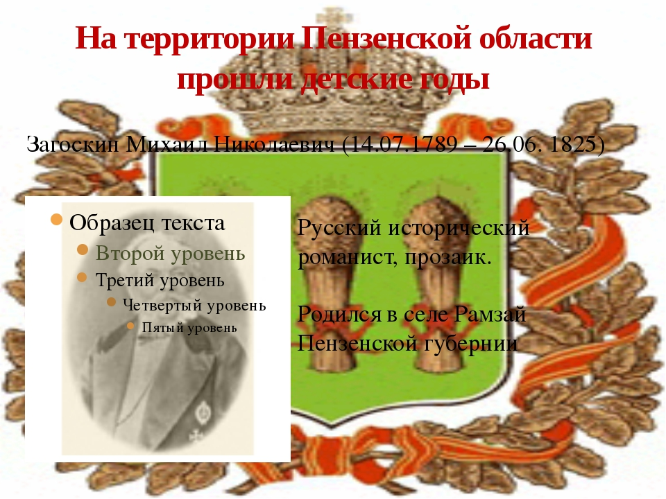 На территории Пензенской области прошли детские годы Загоскин Михаил Николаев...