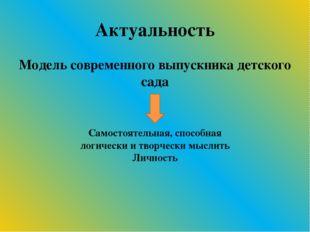 Актуальность Модель современного выпускника детского сада Самостоятельная, сп