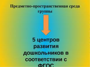 Предметно-пространственная среда группы 5 центров развития дошкольников в соо