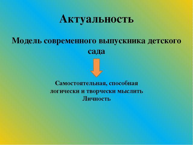 Актуальность Модель современного выпускника детского сада Самостоятельная, сп...