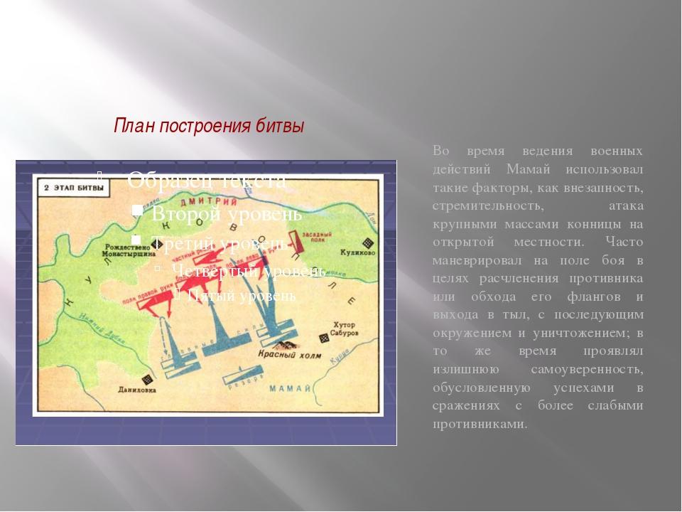 План построения битвы Во время ведения военных действий Мамай использовал так...