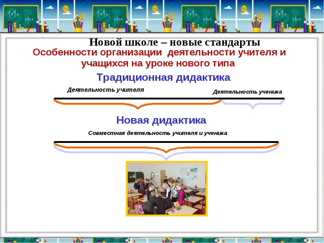 Традиционная дидактика Деятельность учителя Новая дидактика Новой школе – нов...