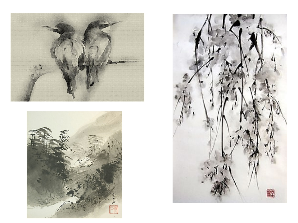Суйбокуга (суми-э) - картина водой и тушью, зародилась в Китае и Японии. Ахро...