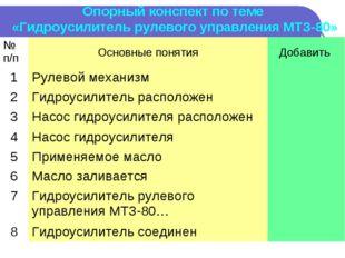 Опорный конспект по теме «Гидроусилитель рулевого управления МТЗ-80» № п/пОс