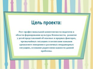 Цель проекта: Рост профессиональной компетентности педагогов в области формир
