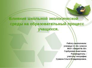 Влияние школьной экологической среды на образовательный процесс учащихся. Ра