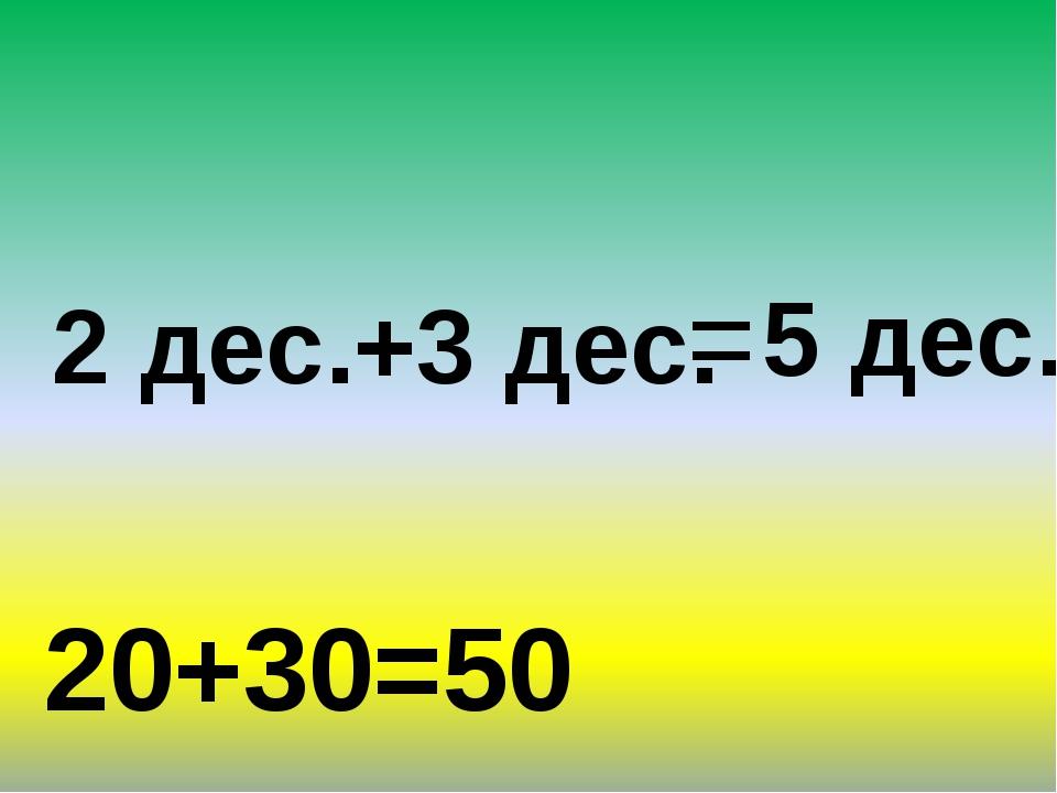 2 дес.+3 дес. 5 дес. = 20+30=50