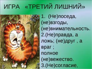 ИГРА «ТРЕТИЙ ЛИШНИЙ» 1. (Не)поседа, (не)взгоды, (не)внимательность. 2.(Не)пра