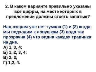 2. В каком варианте правильно указаны все цифры, на месте которых в предложен