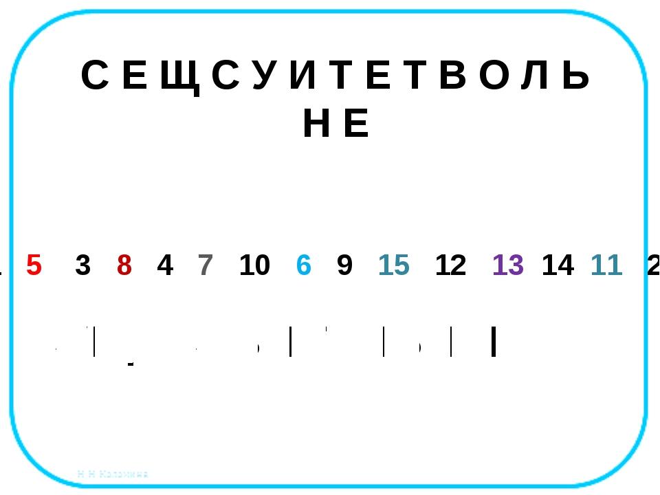 1 5 3 8 4 7 10 6 9 15 12 13 14 11 2 С Е Щ С У И Т Е Т В О Л Ь Н Е С Е Щ С У И...