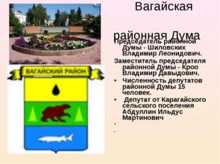 Вагайская районная Дума Председатель районной Думы - Шиловских Владимир Леон