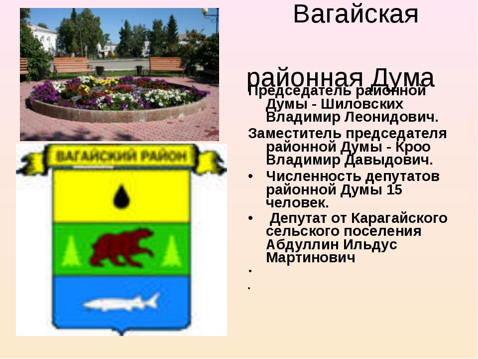 Вагайская районная Дума Председатель районной Думы - Шиловских Владимир Леон...