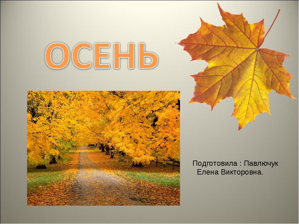 Подготовила : Павлючук Елена Викторовна.
