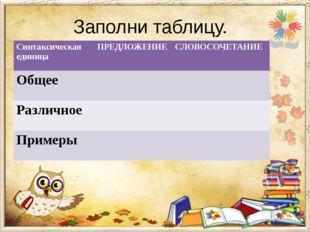 Заполни таблицу. Синтаксическая единица ПРЕДЛОЖЕНИЕ СЛОВОСОЧЕТАНИЕ Общее Разл
