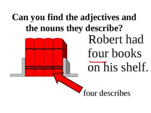 Robert had four books on his shelf. Can you find the adjectives and the noun