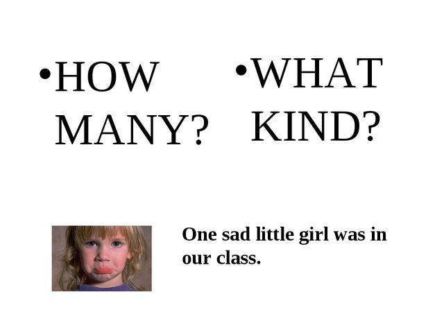 HOW MANY? WHAT KIND? One sad little girl was in our class.