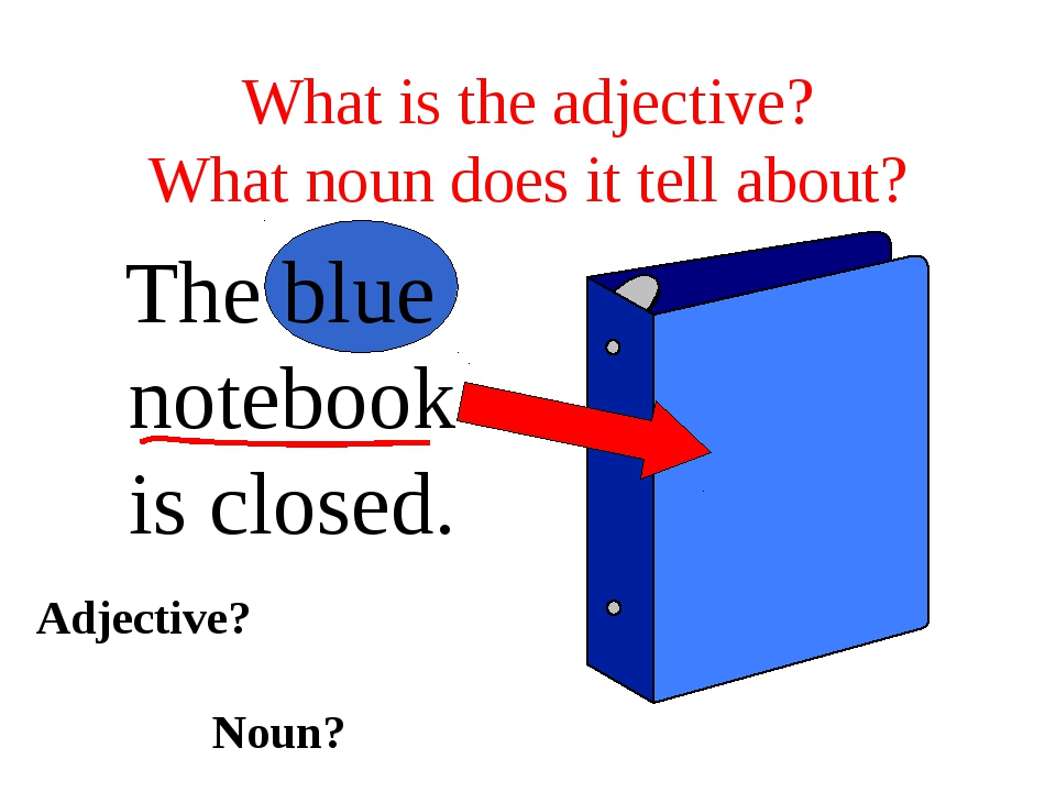 What is the adjective? What noun does it tell about? The blue notebook is clo...