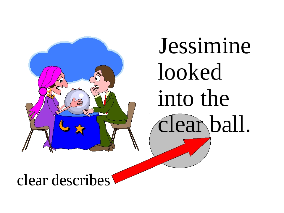 Jessimine looked into the clear ball. clear describes