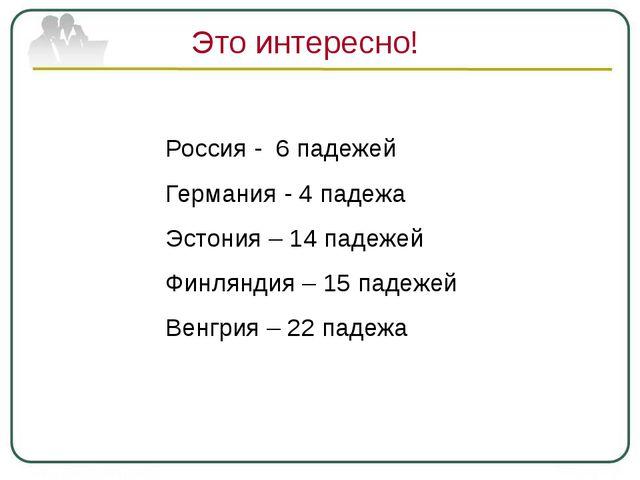 Это интересно! Россия - 6 падежей Германия - 4 падежа Эстония – 14 падежей Фи...