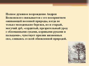 Полное духовное возрождение Андрея Болконского связывается с его восприятием