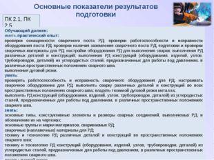 Основные показатели результатов подготовки ПК 2.1, ПК 2.5 Обучающий должен: и