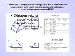 Общий вид и спецификация конструкции для выполнения для выполнения выпускной
