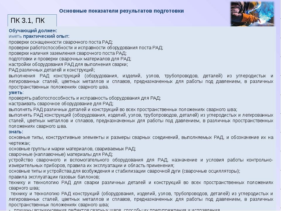 Основные показатели результатов подготовки ПК 3.1, ПК 3.4 Обучающий должен: и...