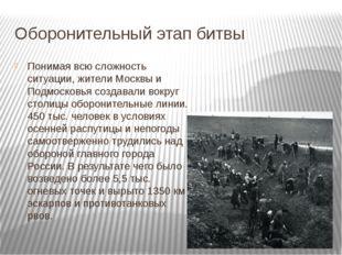 Оборонительный этап битвы Понимая всю сложность ситуации, жители Москвы и Под