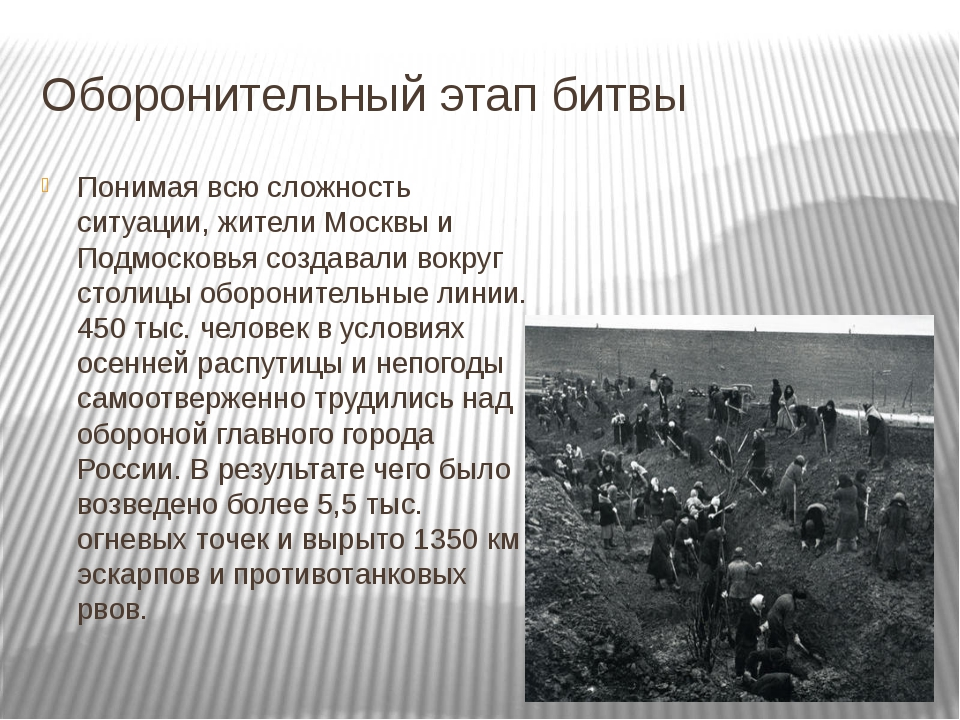 Оборонительный этап битвы Понимая всю сложность ситуации, жители Москвы и Под...
