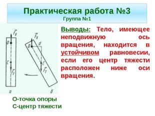 Выводы: Тело, имеющее неподвижную ось вращения, находится в устойчивом равнов