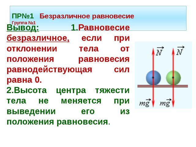 ПР№1 Безразличное равновесие Группа №1 Вывод: 1.Равновесие безразличное, если...