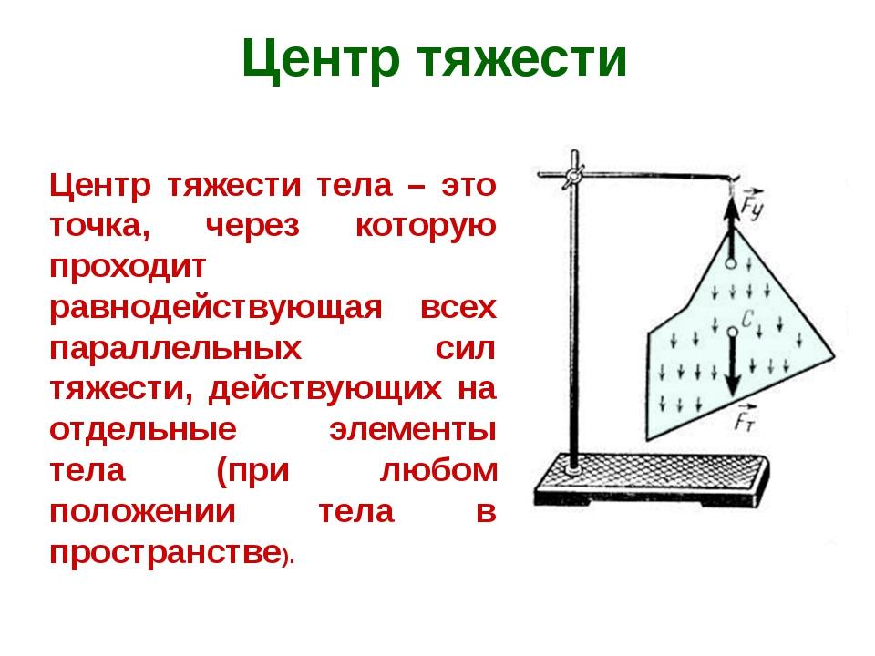 Центр тяжести Центр тяжести тела – это точка, через которую проходит равнодей...