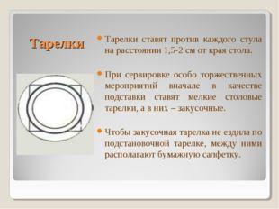 Тарелки Тарелки ставят против каждого стула на расстоянии 1,5-2 см от края с