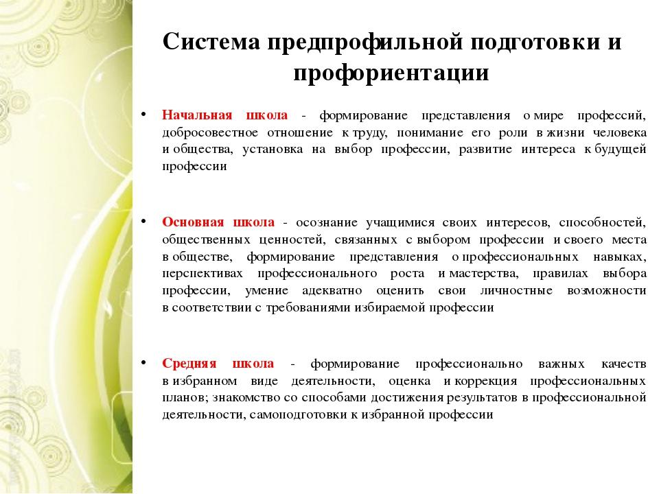 Система предпрофильной подготовки и профориентации Начальная школа - формиров...
