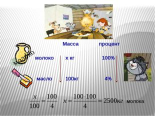 Масса процент молоко x кг 100% масло 100кг 4% молока молоко